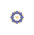 w initial letter logo with luxury ornament vector image