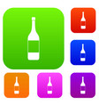 wine bottle set color collection vector image vector image