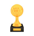 winner golf cup award on stand with empty plate vector image vector image
