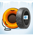 winter tire and snow tubing vector image vector image