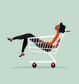 woman sitting in shopping cart vector image vector image