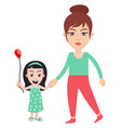 woman with little girl on white background vector image vector image