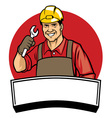 worker wearing a hard hat and hold the wrench vector image vector image