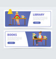 young women reading books in library banners set vector image vector image