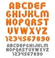 Orange ribbons alphabet vector image