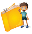A smiling boy and a yellow book vector image vector image