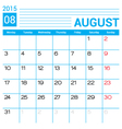 August 2015 calendar page template vector image vector image