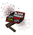 black friday banner exploding discount signs vector image