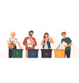 bundle cute funny people putting rubbish in vector image