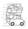 cartoon drawing of car overloaded by boxes and vector image
