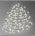 christmas tree of white lights string transparent vector image vector image