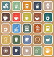 Coffee flat icons on brown background vector image vector image