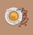 cup of coffee and scattered coffee beans vector image