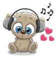 Cute cartoon Teddy Bear with headphones vector image vector image