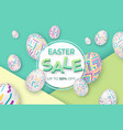 easter background with 3d ornate eggs on green vector image vector image
