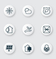 eco-friendly icons set with globe pointer solar vector image