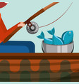 fishing leisure concept vector image vector image