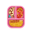 flat icon of lunch on tray chocolate vector image
