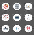 flat icons compass scheme screen and other vector image vector image