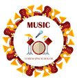 flat musical instrumets round banner design vector image vector image