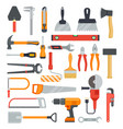 flat work tools hammer and drill ax and vector image