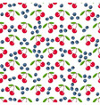 fresh cherry blueberry on white seamless pattern vector image vector image