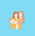 friendship girls happiness and hugs concept vector image
