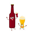 funny beer bottle and glass characters having fun vector image vector image