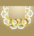 gold 2020 greeting card background template vector image vector image