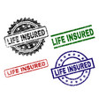 grunge textured life insured seal stamps vector image