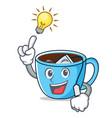 have an idea tea cup mascot cartoon vector image vector image