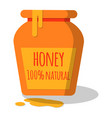 honey pot with dripping honey vector image vector image