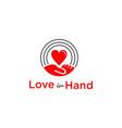 Love in hand logo design template
