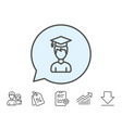 man in graduation cap line icon education vector image