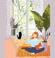 modern flat apartement design girl reading book vector image