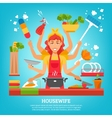 Multitasking Housewife With Eight Hands vector image