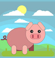 pig in cartoon flat style on the background of vector image