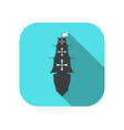sailing ship flat icon with long shadow columbus vector image vector image