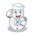 sailor snowman character cartoon style vector image vector image