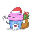 santa cupcake character cartoon style gift vector image vector image
