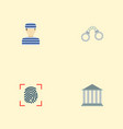 set of crime icons flat style symbols with convict vector image vector image