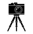 silhouette camera on tripod motives vector image vector image