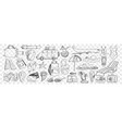 travel and tourism attributes doodle set vector image vector image