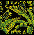 tropical green jungle leaves seamless black vector image vector image