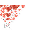 valentines 3d hearts with envelope postcard vector image vector image