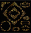 vintage decorative element gold set vector image