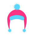 warm knitted pink hat with blue pompom and ears vector image vector image
