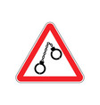 warning police handcuffs on red triangle road vector image vector image