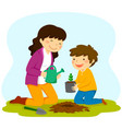 woman and child planting a sapling vector image