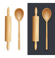 wooden rolling pin and spoon vector image